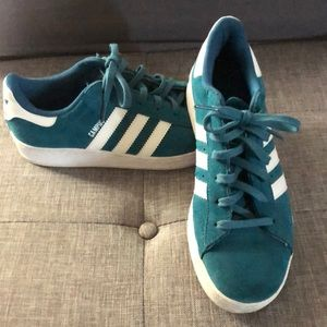 Size 5 turquoise suede Addidas Campus sneakers